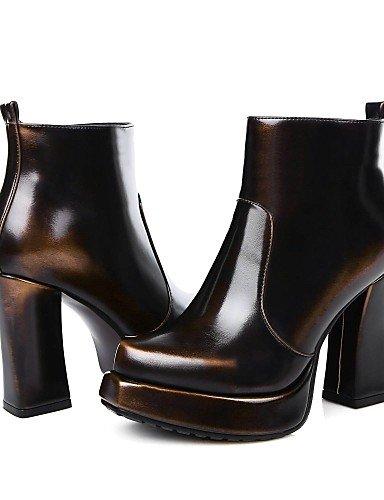 Chaussons Chaussures Citior pour doré Chaussons Bout Bottes Bobine Femme Femme Bottes Rond pour à Talon décontracté Mode tTBwBI