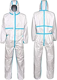 10PCS Disposable Full Body Hooded Coverall,Elastic Cuff and Ankle,Size:L