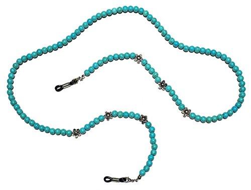 Premium Handmade Turquoise Colored Beaded Eyeglass Holder, Eyeglass Chain, Eyeglass - Review Sunglasses Le Specs