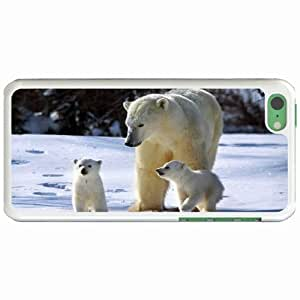 Apple iPhone 5C Cases Customized Gifts polar Bears Family Winter sunny White Hard PC Case