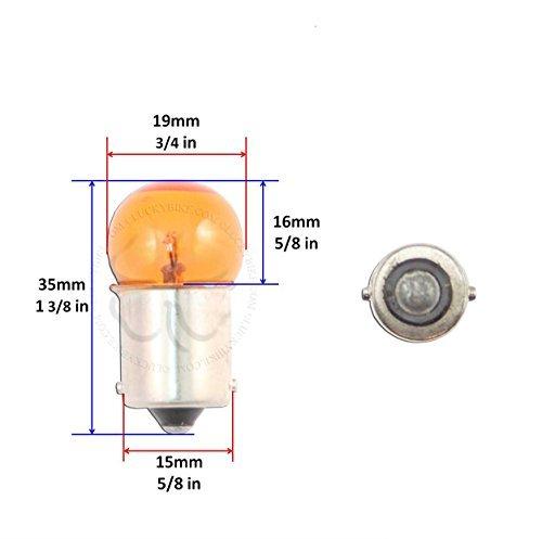 Lighting - Bulbs - 1156 BA15S G18.5 - Small Amber Globe - Chrome Base - 12v - 23w - Set of 4, Model: , Outdoor&Repair Store