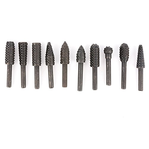 "Set of 10pcs Rotary Burrs with 1/4"" (6mm) Shank, Wood Carving File Rasp Drill Bits Chisel Shaped Rotating Embossed Grinding Head Power Tools"