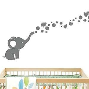Elephant Bubbles Wall Decal - Grey Nursery Room Wall Decor