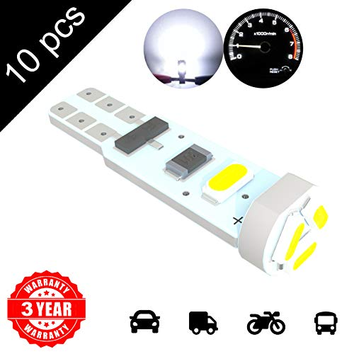LED Monster 10 x T5 5 SMD White LED Bulbs Instrument Panel Gauge Cluster Replacement Lamp for Lexus by LED Monster