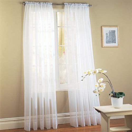 DreamKingdom - 2 PCS Solid Sheer Window Curtains/Drape/Panels/Treatment Brand New 58