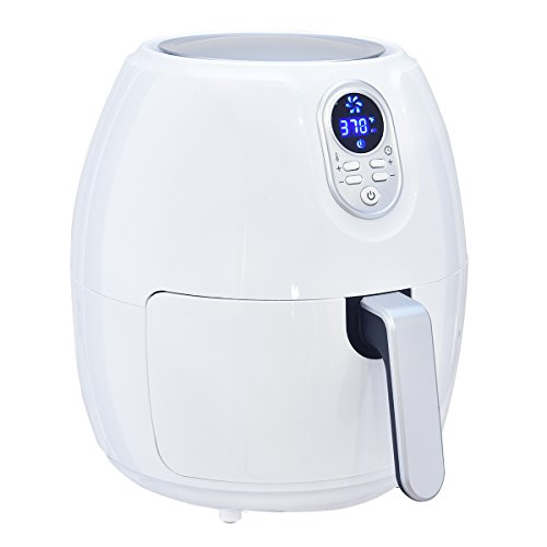 Costzon 4.8 Qt. Electric Air Fryer, Extra Large Capacity, 1500W Air Frying Technology with Touch LCD Screen, Temperature and Time Control (White) by Costzon