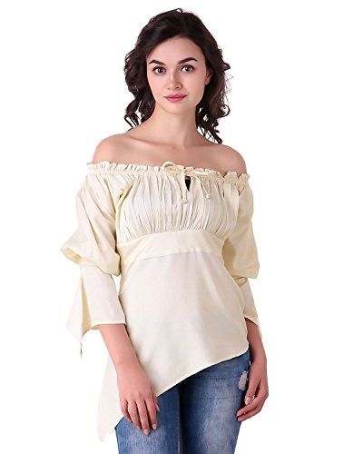 Pirate Renaissance Medieval Gothic Wench Cosplay Costume Women's 3/4 Sleeve High-Low Hem Blouse Top (Natural) (Wench Renaissance Clothing)