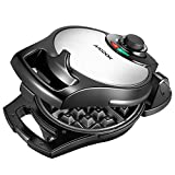 Aicook Belgian Waffle Maker, 180° FlipSide Waffle Maker, 4-Slice Stainless Steel Waffle Iron with Temperature Control & Non-stick Plates, Compact & Fast, 950W