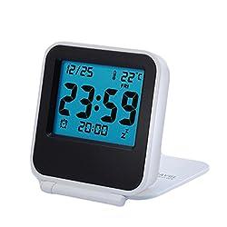 BestWare Alarm Clock For Traveling Mini Alarm Clock Folding Alarm Clock Lcd Digital Screen Travel Clock White