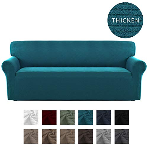 Easy-Going Thickened Stretch Slipcover, Sofa Cover, Furniture Protector with Elastic Bottom, 1 Piece Couch Shield, Sturdy Fabric Slipcover for Pets,Kids,Children,Dog (Sofa,Peacock Blue)