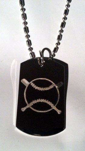 Baseball Cross Bat Sports Logo Symbols - Military Dog Tag Luggage Tag Key Chain Metal Chain Necklace