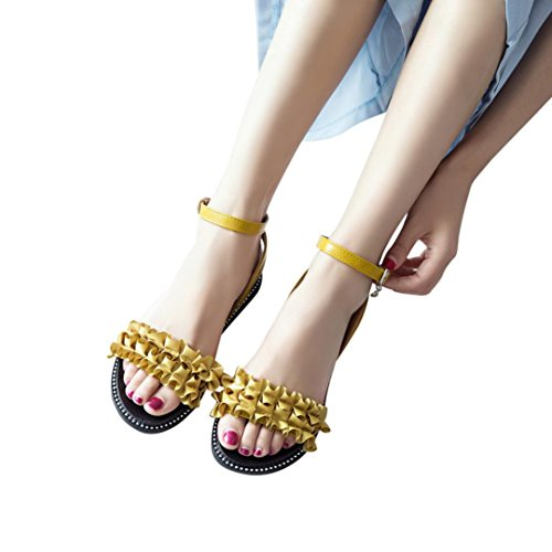 FORUU Women Fashion Solid Flower Hasp Round Toe Slope Heel Sandals Beach Shoes (38, Yellow) by FORUU womens shoes