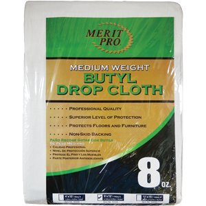 MERIT PRO 02035 9' x 12' 8Oz Med Weight Butyl Drop Cloth