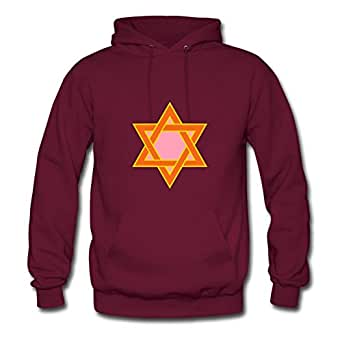 X-large Women Star Of David Different Personalized Burgundy Cotton Hoody