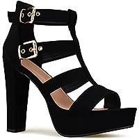 Premier Standard Women's Platform Ankle Strap High Heel - Open Toe Sandal Pump - Formal Party Chunky Dress Heel