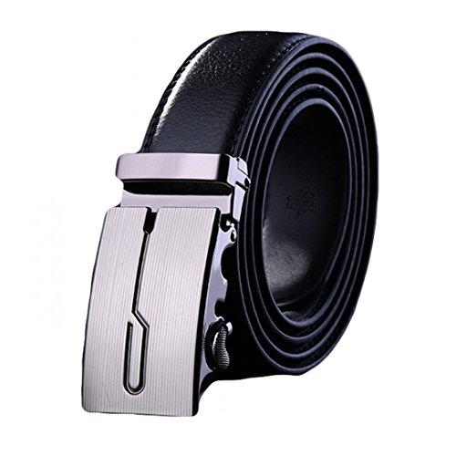 Soft Direct Men's Leather Belt Sliding Buckle 35mm Ratchet Belt Black Style 2 (Soft Leather Buckle Belt)