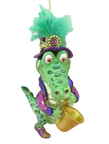 December Diamonds Glass Ornament - Mr. Alligator with Saxophone, Mardi Gras Theme