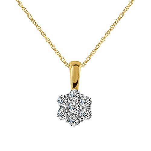 10k Yellow Gold Diamond Flower Cluster Pendant (0.26 cttw, H-I Color, I1-I2 Clarity), - Gold Pendant Flower Diamond White