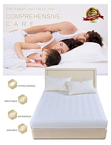 cieltown Waterproof Mattress Pad, Premium Hypoallergenic Quilted Mattress Protector, Fitted Sheet Style, Chevron, Fitted up 18 Deep Pocket (White, Queen)