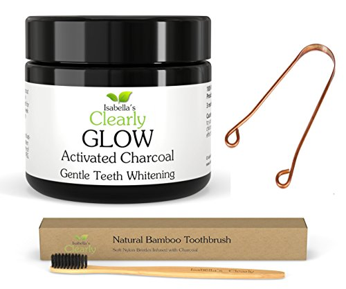 Isabella's Clearly Oral Care 4-Piece Kit - GLOW Teeth Whitening Activated Charcoal + BAMBOO Soft Toothbrush with Charcoal Infused Bristles + COPPER Tongue Scraper + Reusable Eco-Friendly Gift Bag.
