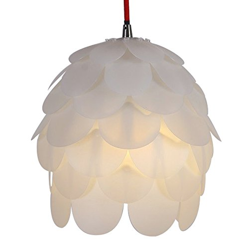 HROOME DIY Kit Pinecone Shape Puzzle Lampshade Suspension Ceiling Pendant Chandelier Light Shade Lamp For Club Living Room Bedroom Study Dining Room Decor Lighting(Milk white lampshade)