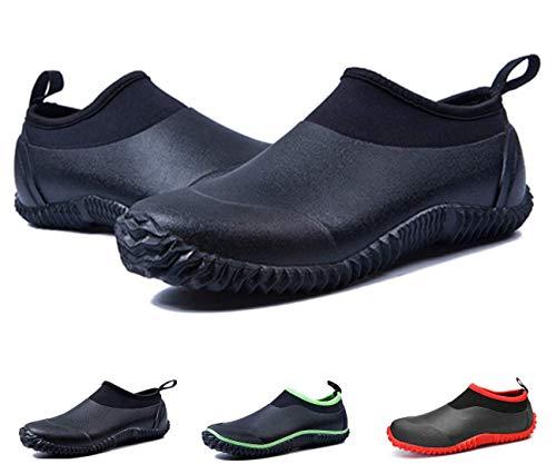 gracosy Rain Boots for Women Men, Waterproof Garden Shoes Beach Water Shoes Lightweight Walking Sneaker Car Wash Footwear Black 8 M US Women / 6.5 M US Men