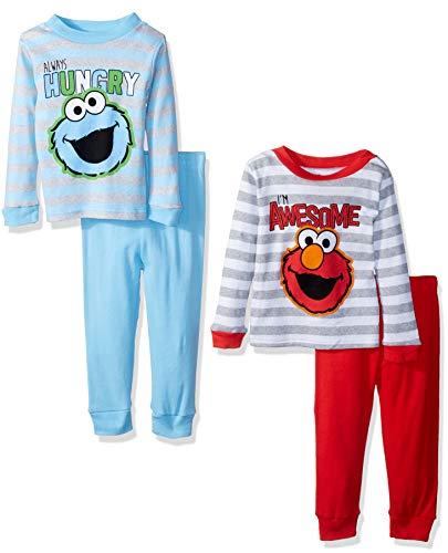 (Sesame Street Baby Boys Elmo & Friends 4-Piece Cotton Pajama Set, sesame stripes, 12M)