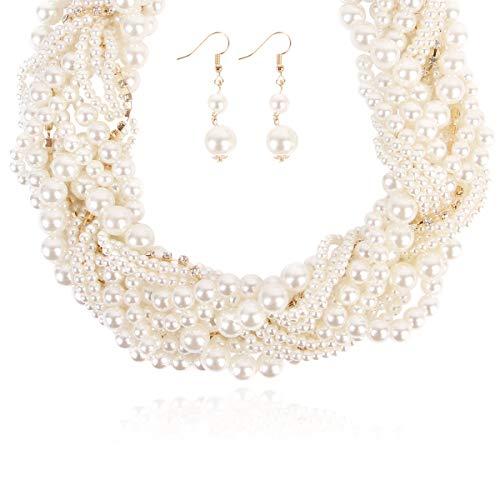 RIAH FASHION Acrylic Faux Pearl Statement Necklace - Bridal Wedding Drape Long Wrap Multi Layer Simple Necklace Braided, Twisted, Bib, Hammock, Layering (Braided ()