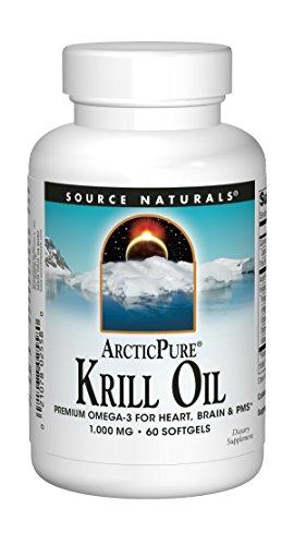 SOURCE NATURALS Arctic Pure Krill Oil 1000 Mg Soft Gel, 60 Count