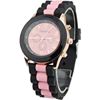 Women's Silicone Band Jelly Gel Quartz Wrist Watch Pink by Sanwood
