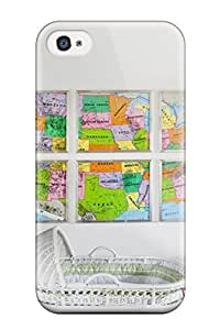 Brand New 4/4s Defender Case For Iphone (white Nursery With Colorful Wall Map Artwork)