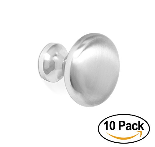 BirdRock Home Modern Cabinet Knobs | Brushed Nickel | 10 Pack | Kitchen Cupboard Furniture Cabinet Hardware Drawer Dresser Pull | 1.25 Inch Diameter