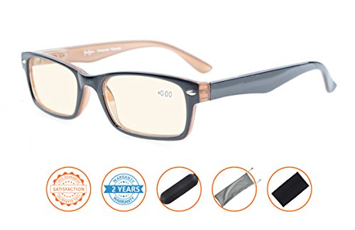 Reduce Eyestrain,Anti Blue Rays,UV Protection Computer Reading Glasses(Black-Brown,Amber Tinted Lenses) without - Computers Glass