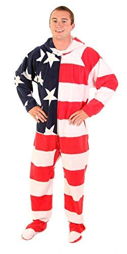 Forever Lazy Footed Adult Onesie - American Dreamer - -