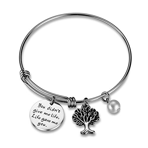 (CJ&M Stepmom Gift Stepmother Bangle Mother Daughter Gift • Adoption Stepmother Quote Bracelet • Step Parent Gift Bracelet Jewelry)