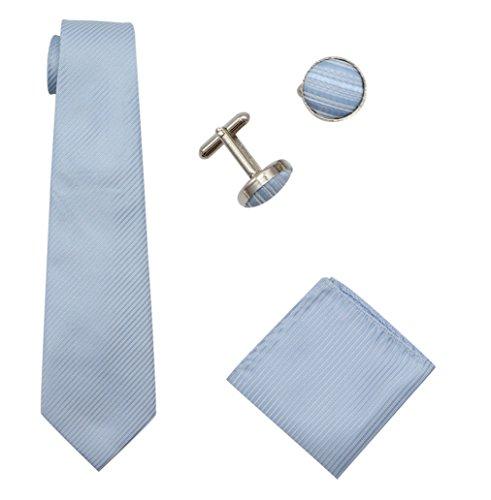 Bioterti Men's 3-Piece Necktie Set:Solid Color Stripes Necktie, Pocket Square & Cufflinks (Sky Blue) (Sky Blue Stripes Tie)