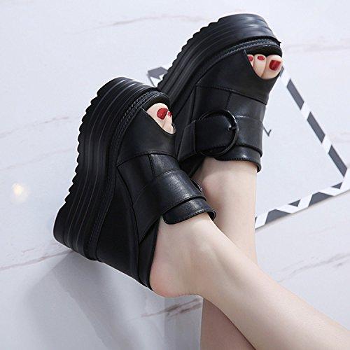 CHNHIRA Sexy Sandalias Zapato de Tacón Mujer Aumento Interno de Escena Verano Negro