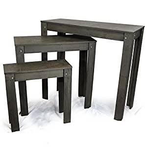 Classic Nesting Store Display Tables - Set of Three - Black Charcoal