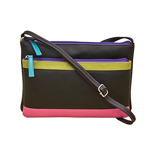 ili 6028 Leather Multi Compartment Cross body Handbag (Black Brights)