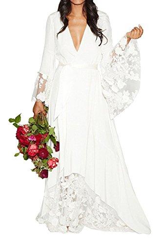 Ruolai Women's Low Cut Boho Style Lace Wedding Dress Long Sleeve Bridal Gown white 4