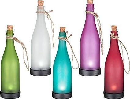 Gearmax® Juego de 5 LED funciona con energía Solar luz lámpara de botella de cristal para colgar diseño cilíndrico de efecto llama Garden cinta de ...