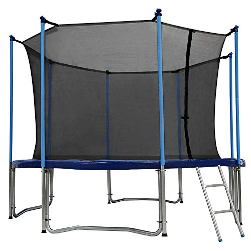 Zupapa 10 Ft TUV Approved Trampoline with Ladder and Pole and Enclosure net and Safety Pad and Jumping Mat and Spring Pull T-Hook