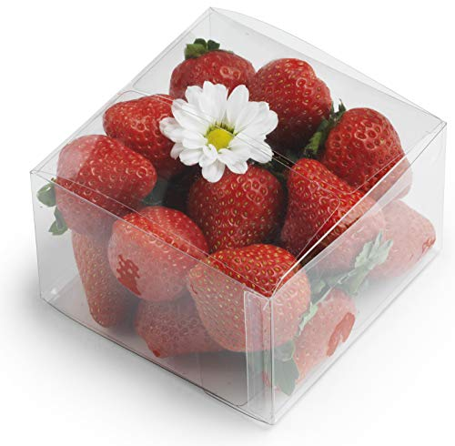 "Cuisiner Clear Plastic Boxes: 50-Pack Transparent Pastry Containers Set | 4X4X2.5"" Treat, Cookie, Cupcake, Candy Wedding/Birthday Party Package Boxes"