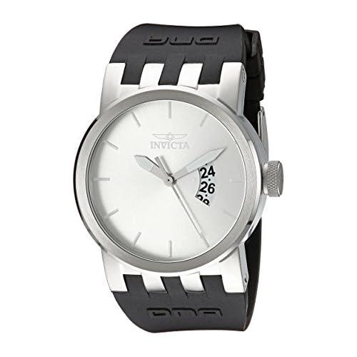 Invicta Men's 10407 DNA Urban Silver Sunray Dial Black Silicone Watch