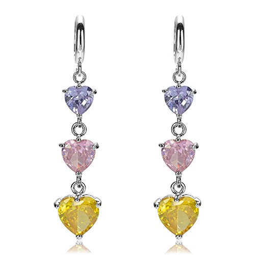 RIZILIA Three-stone Dangle Drop Pierced Earrings with Heart Cut CZ [Multi-color Cubic Zirconia] in White Gold Plated, Simple Modern Elegant ()
