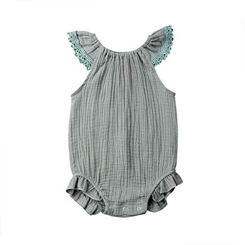 B. Bone Newborn Boys Girls Clothes Round Neck Ruffle Sleeveless Baby Jumpsuit Solid Cotton Toddler Bodysuit(Green,12M)]()