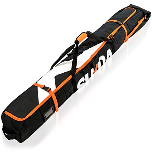 Premium Padded Ski Bag for Air Travel – Single Ski Carry Bags for Cross Country, Downhill, Ski Clothes, Snow Gear, Poles…