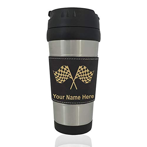 (Travel Mug, Racing Flags, Personalized Engraving Included (Black))