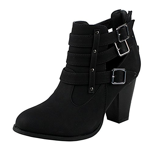 Forever Women's Buckle Strap Block Heel Ankle Booties, Trendy Shoes Camila Black Nu Size 11