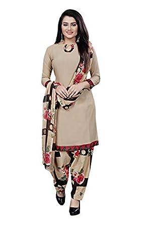 ANNI DESIGNER Women's crepe Dress Material (POOJA MASTI 150_ Beige_ Free)